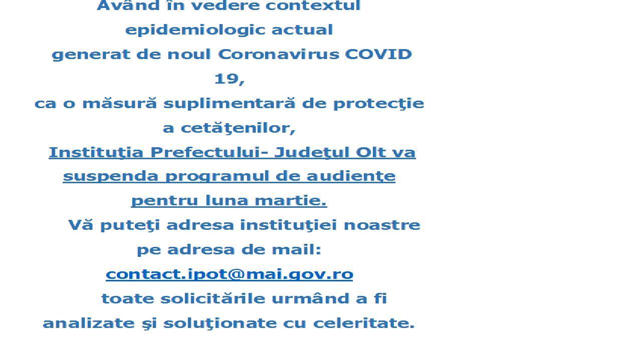 Informare suspendare audienţe Instituţia Prefectului - Olt